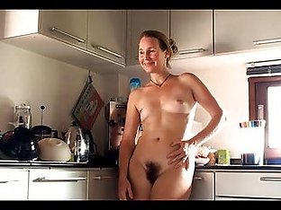Hairy girl's standing kitchen orgasm